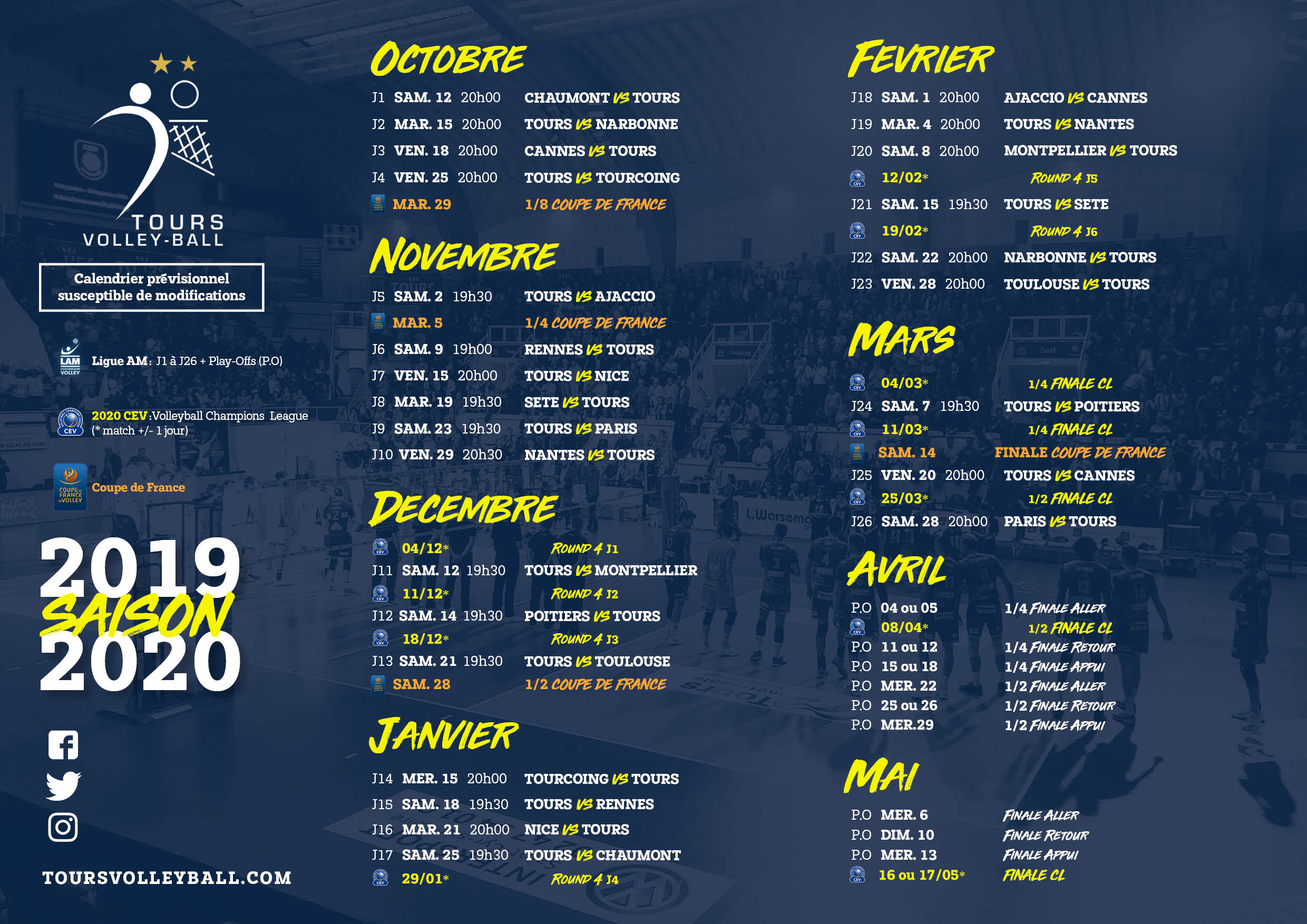 Calendrier Tours Volley Ball